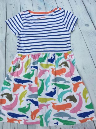 Mini Boden hotchpotch dress with multi-coloured whales age 6-7